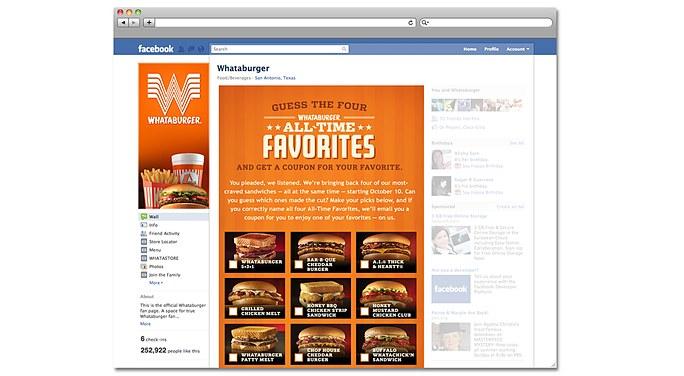 Whataburger All Time Favorites Facebook Promotion
